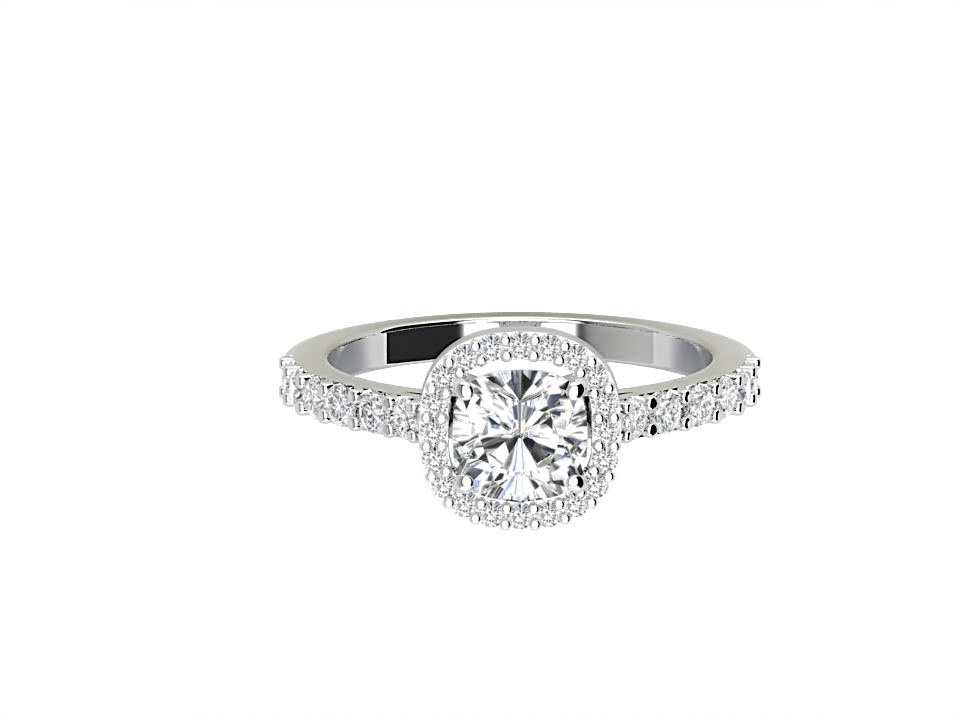 1 carat cushion shape diamond engagement ring with melee in Platinum  #1