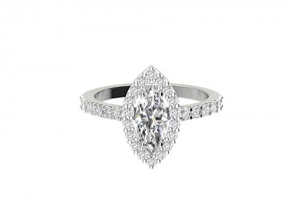 CHM008 1.20ct Pear Halo Engagement Ring
