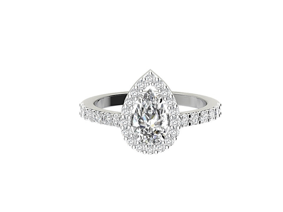 1 carat pear shape diamond engagement ring with melee in 18 carat white gold  #13