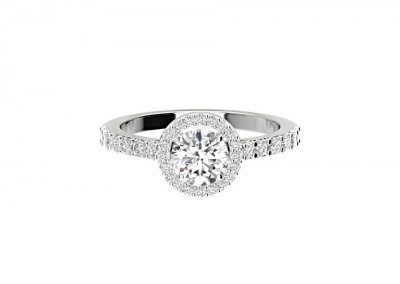 CHM010 .50ct Round Halo Diamond Engagement Ring