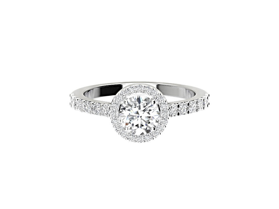 1 carat round brilliant diamond engagement ring with melee in 18 carat white gold  #21 copy