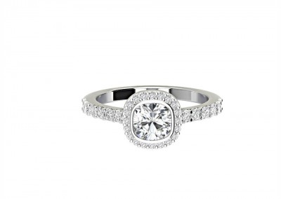 CHM001 .70ct Cushion Halo Engagement Ring