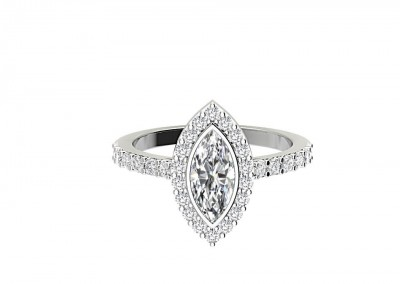 CHM002 1.25ct Marquise Halo Engagement Ring