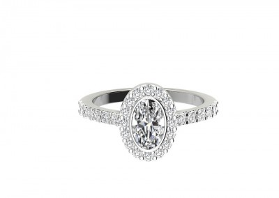 CHM003 1.20ct Oval Halo Engagement Ring