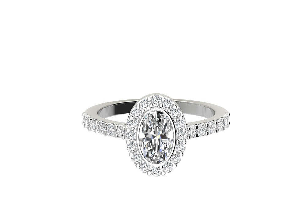 .25 carat oval shape diamond engagement ring with rubover setting in platinum  #12