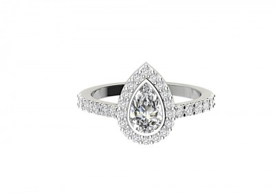 CHM004 1.25ct Pear Halo Engagement Ring
