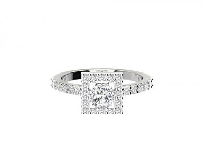 CHM005 .80ct Princess Halo Engagement Ring