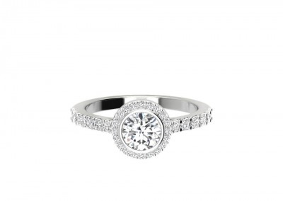 CHM006 .70ct Round Bezel Halo Engagement Ring