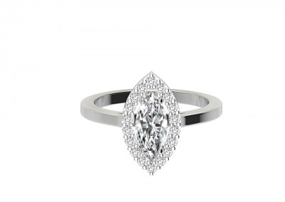 CHR001Marquise Halo Engagement Ring
