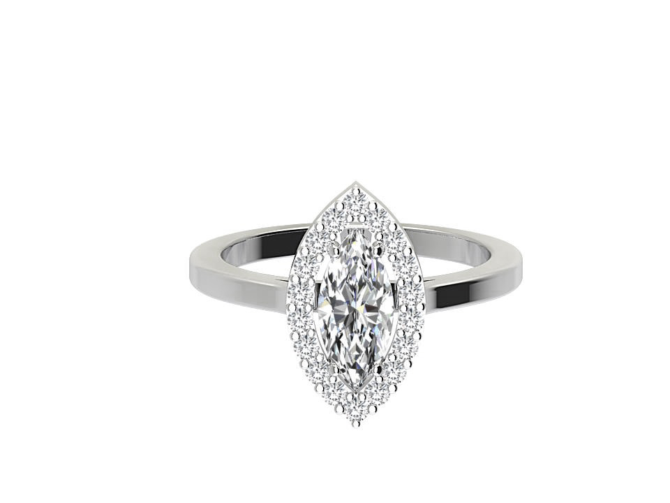.50 carat marquis shape diamond engagement ring with melee  in platinum #7