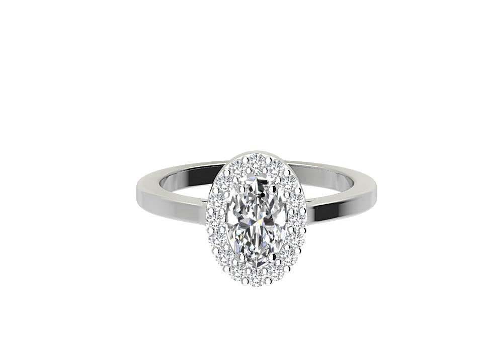 .50 carat oval shape diamond engagement ring with melee in 18 carat white gold  #11