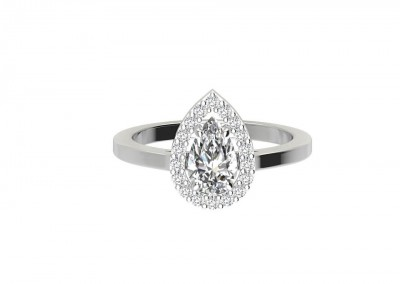 CHR003 Pear Halo Engagement Ring