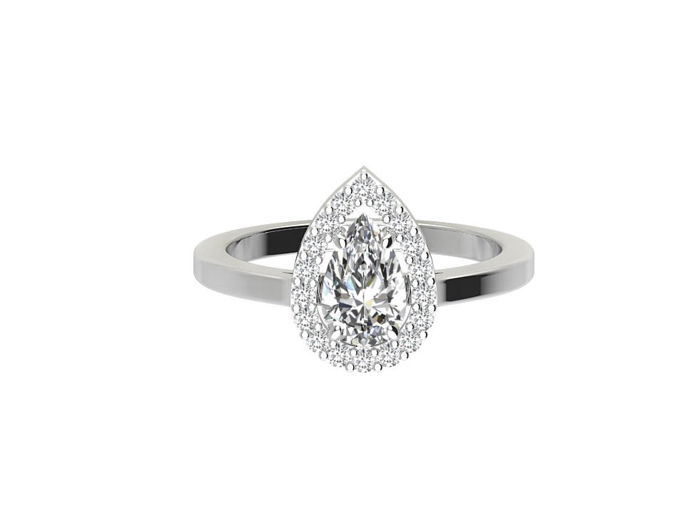 .50 carat pear shape diamond engagement ring with melee in 18 carat white gold