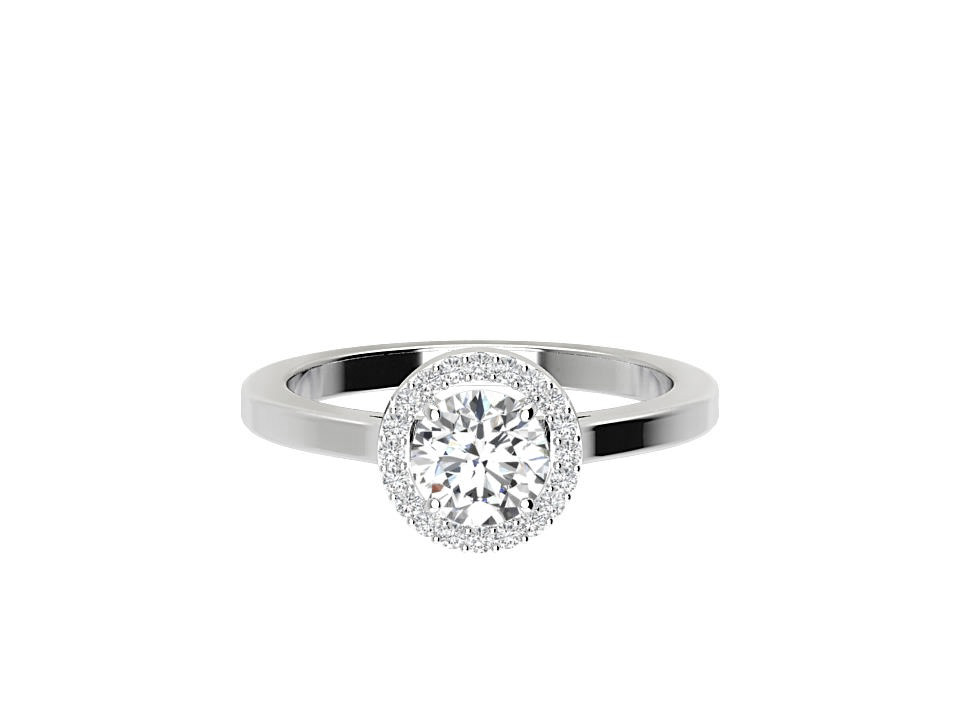 .50 carat round brilliant diamond engagement ring with melee in 18 carat white gold  # 23