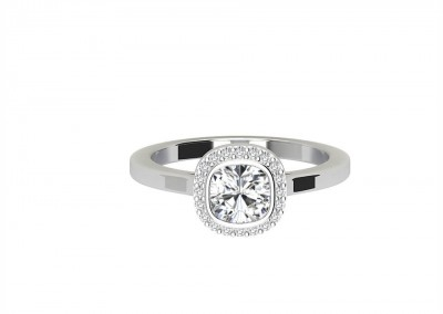 CHR005 Cushion Halo Engagement Ring