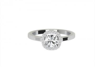 CHR006 Cushion Claw Set Engagement Ring