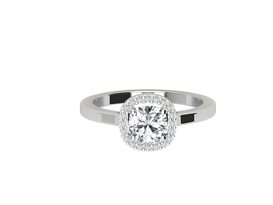 .75 carat cushion shape diamond engagement ringwith rubover setting in 14 carat white gold #3