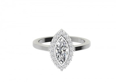CHR007 Marquise Halo Bezel Set Engagement Ring