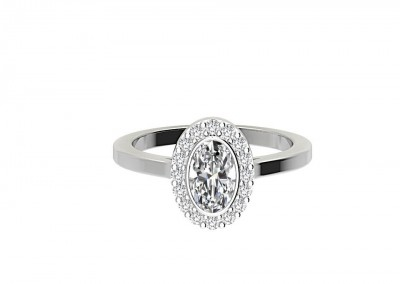 CHR008 Oval Halo Bezel Set Engagement Ring