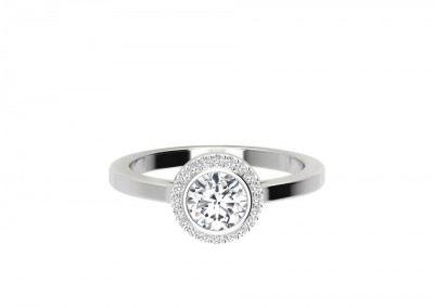 CHR010 Round Halo Bezel Set Engagement Ring