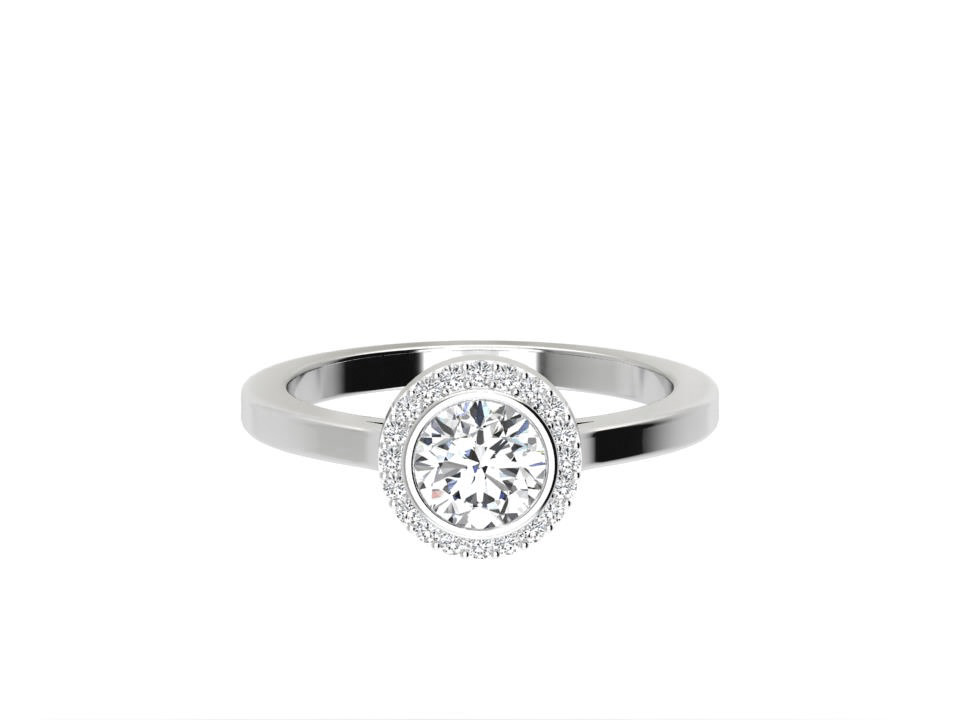 .75 carat round brilliant diamond engagement ring with rub over setting in platinum  # 22