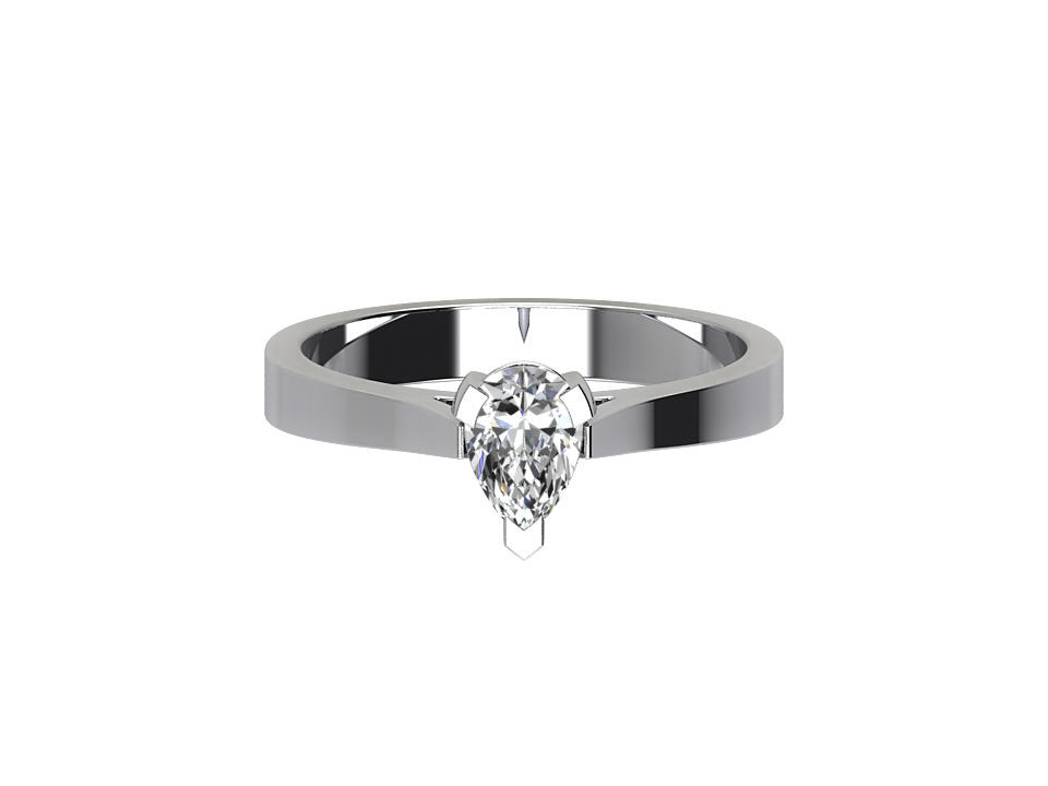 CS6006 Pear Cut Solitaire Engagement Ring