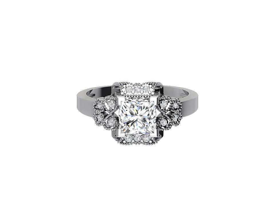 1 carat princess cut diamond engagement ring with art deco design in 18 carat white gold #2