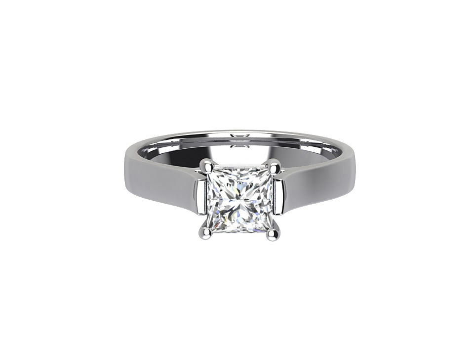 1 carat princess cut diamond solitaire engagement ring with elevated centre in platinum  #12