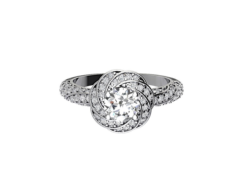 1 carat round brilliant diamond vintage engagement ring with snowflake swirl  inplatinum #1