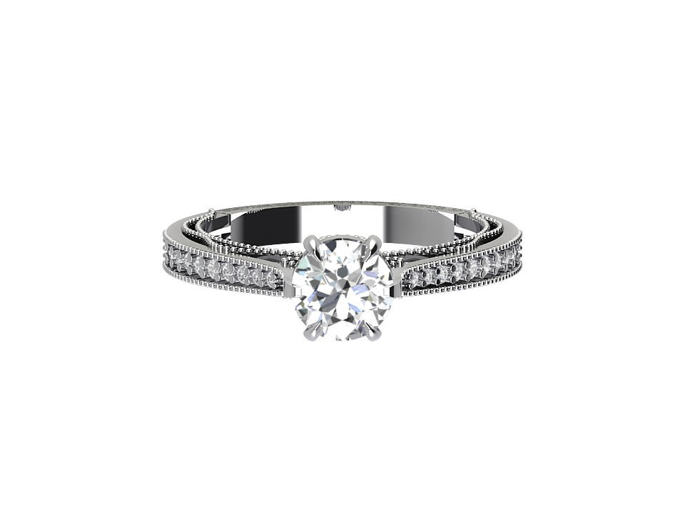 1 carat vintage diamond engagement ring with lattice feature and under gallery in 18 carat white gold  #6