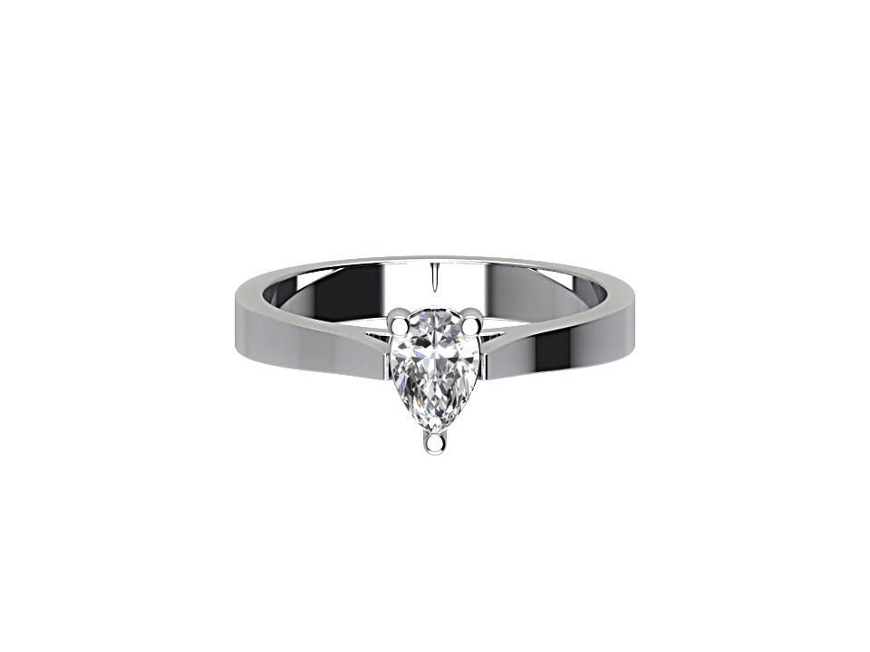 .50 carat pear cut diamond engagement ring with tapered edge in platinum #45