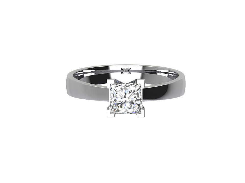 .50 carat princess cut diamond solitaire engagement ring with tapered shoulders in 18 carat white gold  #2