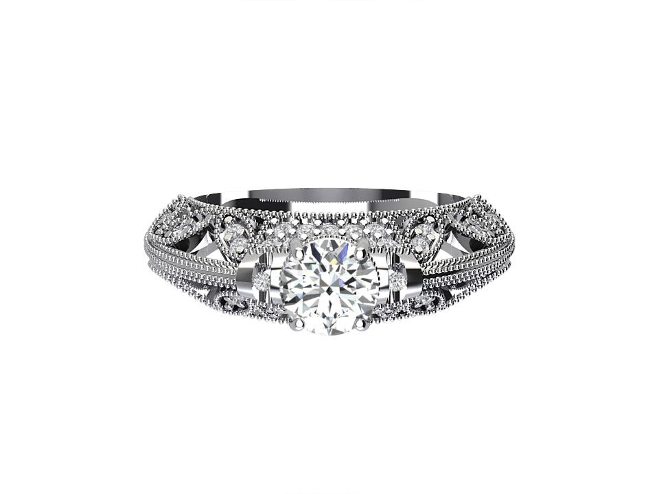 50 carat round brilliant vintage  diamond engagement ring with gallery feature and lattice in 18 carat white gold  #8