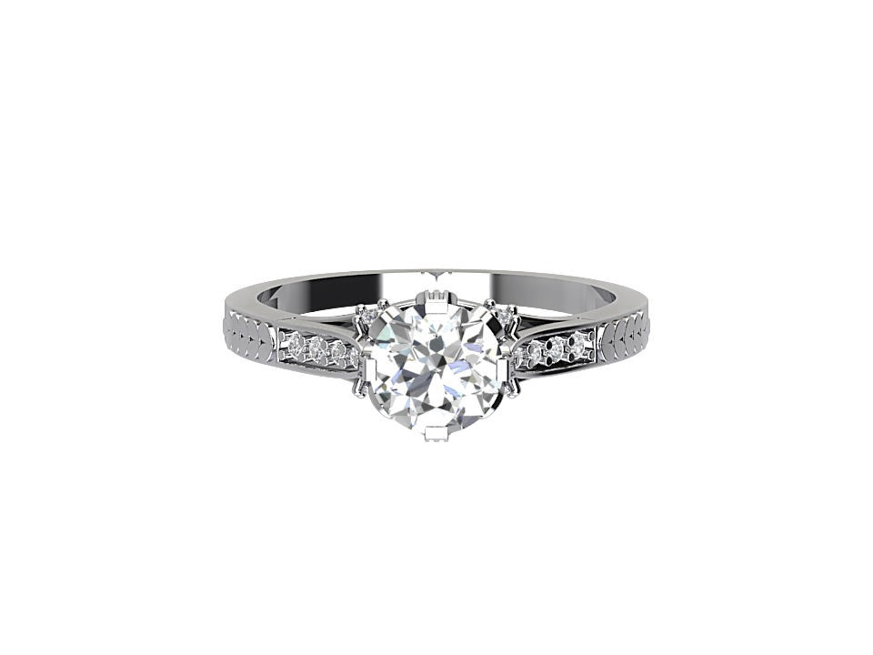 50 carat round brilliant vintage diamond engagement ring with tapered diamond shoulders and art deco feature in platinum #5