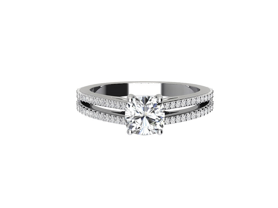 .50 carat round diamond solitaire engagement ring with split shank & melee in 18 carat white gold #14