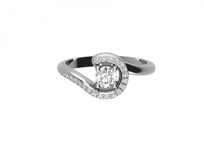 Twist Pave Set Engagement Ring CSM006