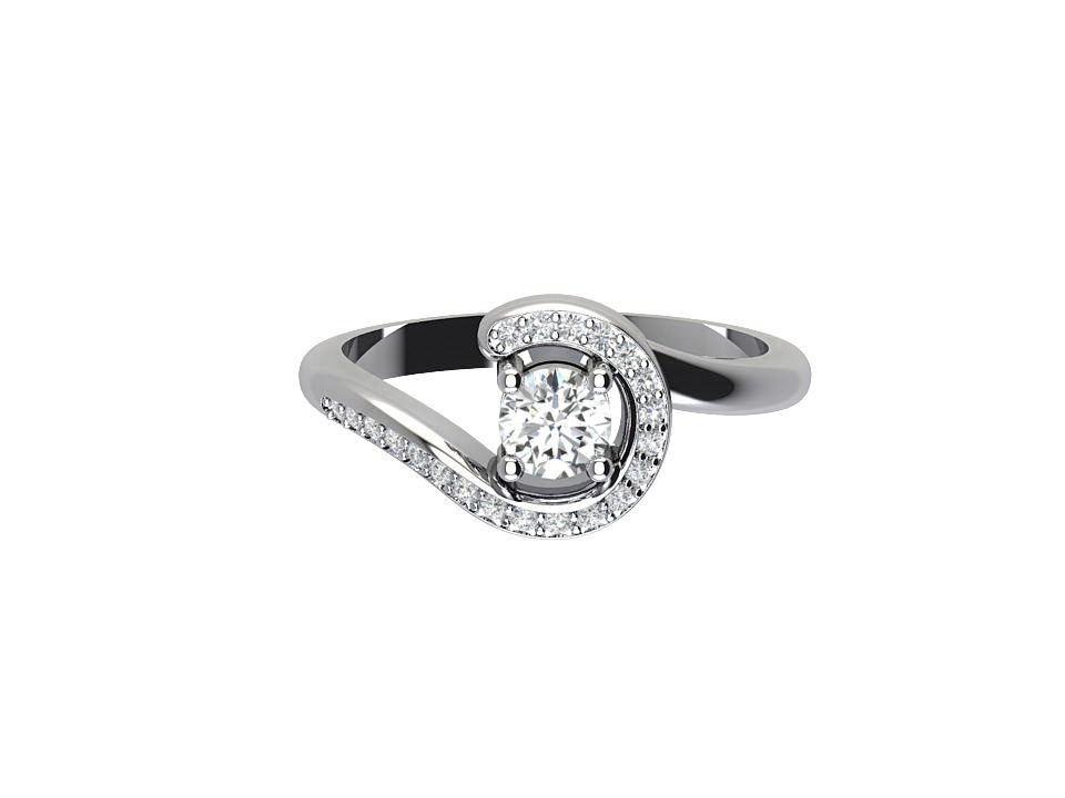 .50 carat solitaire round diamond engagement ring with melee in 18 carat white gold  #10