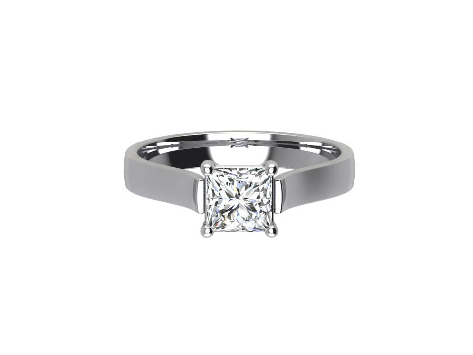 .55 carat princess cut diamond solitaire engagement ring with soft tapered shoulder in 18 carat white gold #16