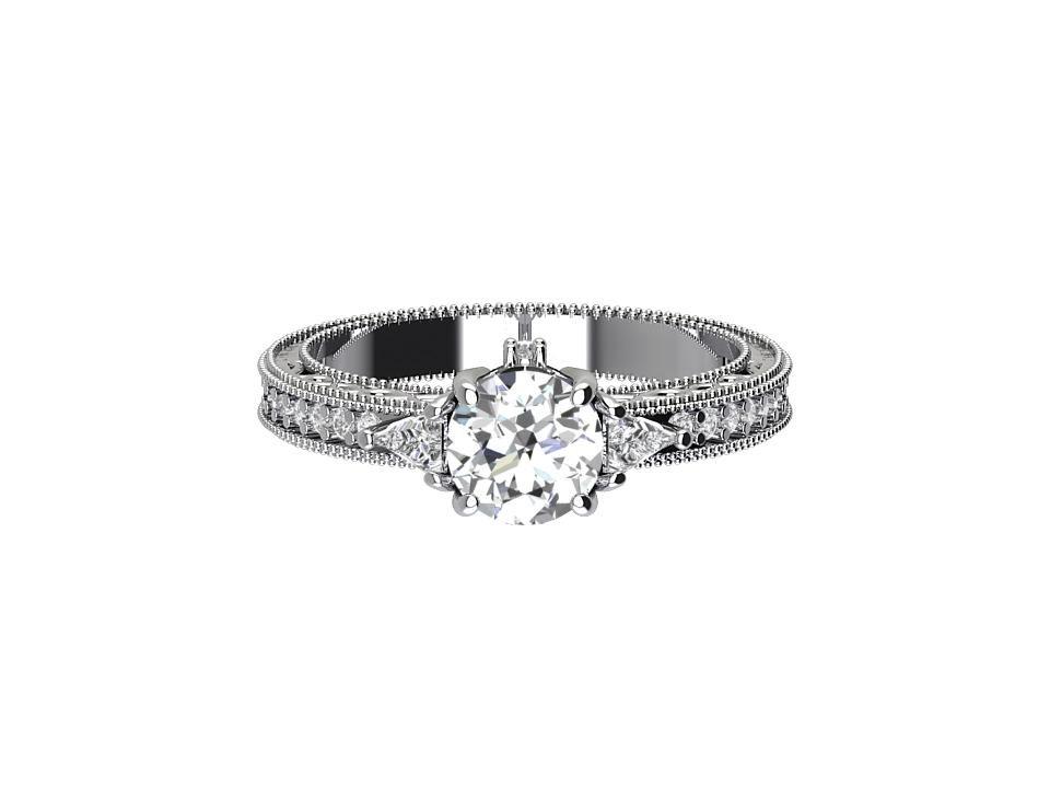 65 carat round brilliant diamond engagement ring with mill grain edge in platinum  #7
