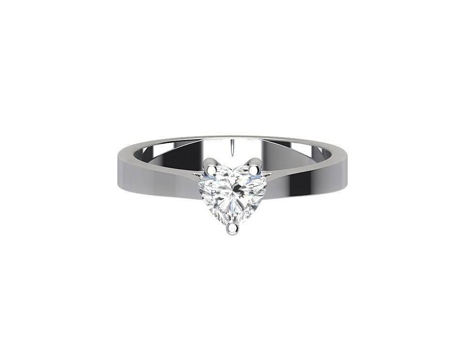 75 carat heart shape diamond engagement ring with soft tapered edge in 18 carat white gold  #48