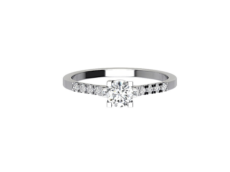 .75 carat round brilliant  diamond engagement ring  with melee in 18 carat white gold #2
