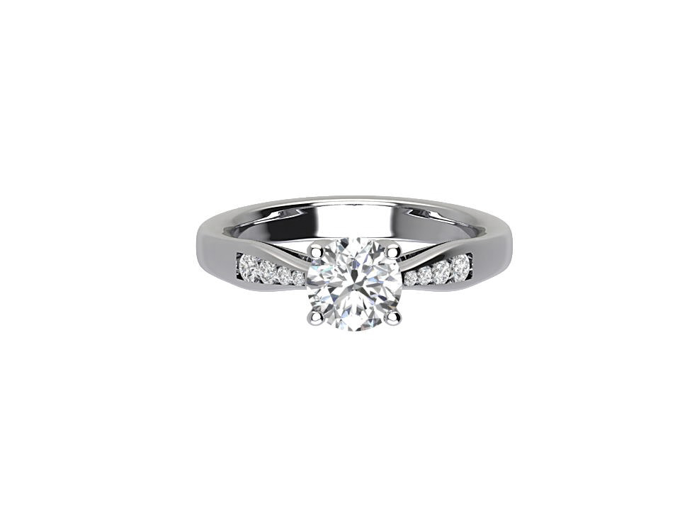 .75 carat round diamond engagement ring with tapered melee shoulders in platinum #11