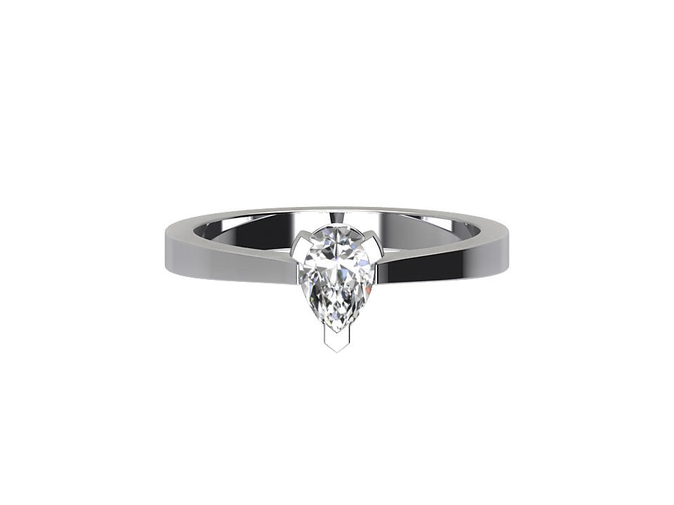 75 pear cut 3 claw diamond engagement ring with tapered edge  in 18 carat white #47