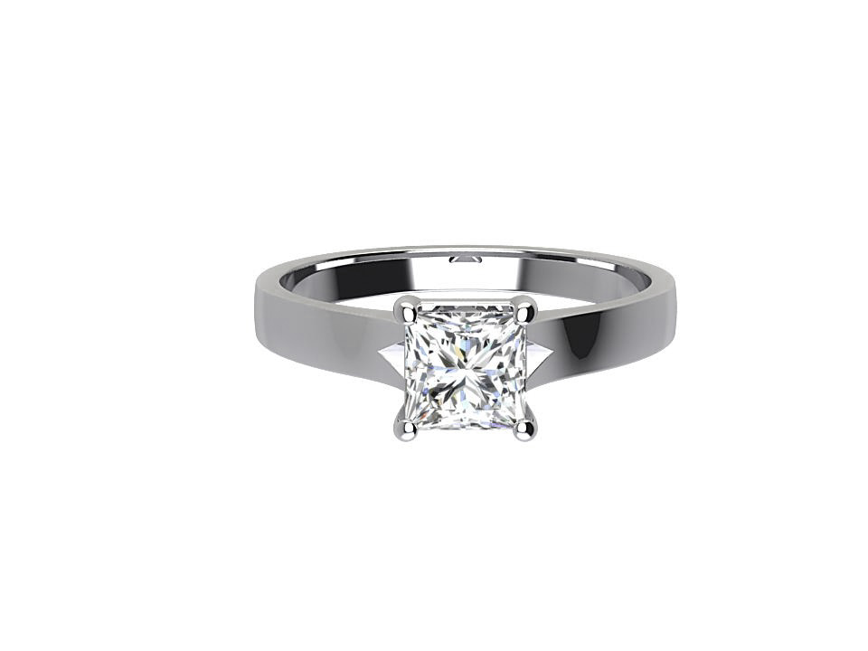 .90 carat princess cut diamond solitaire engagement ring in 18 carat white gold #9