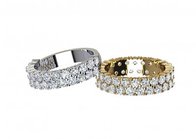 DWSR004 Double Row Diamond Wedding Rings