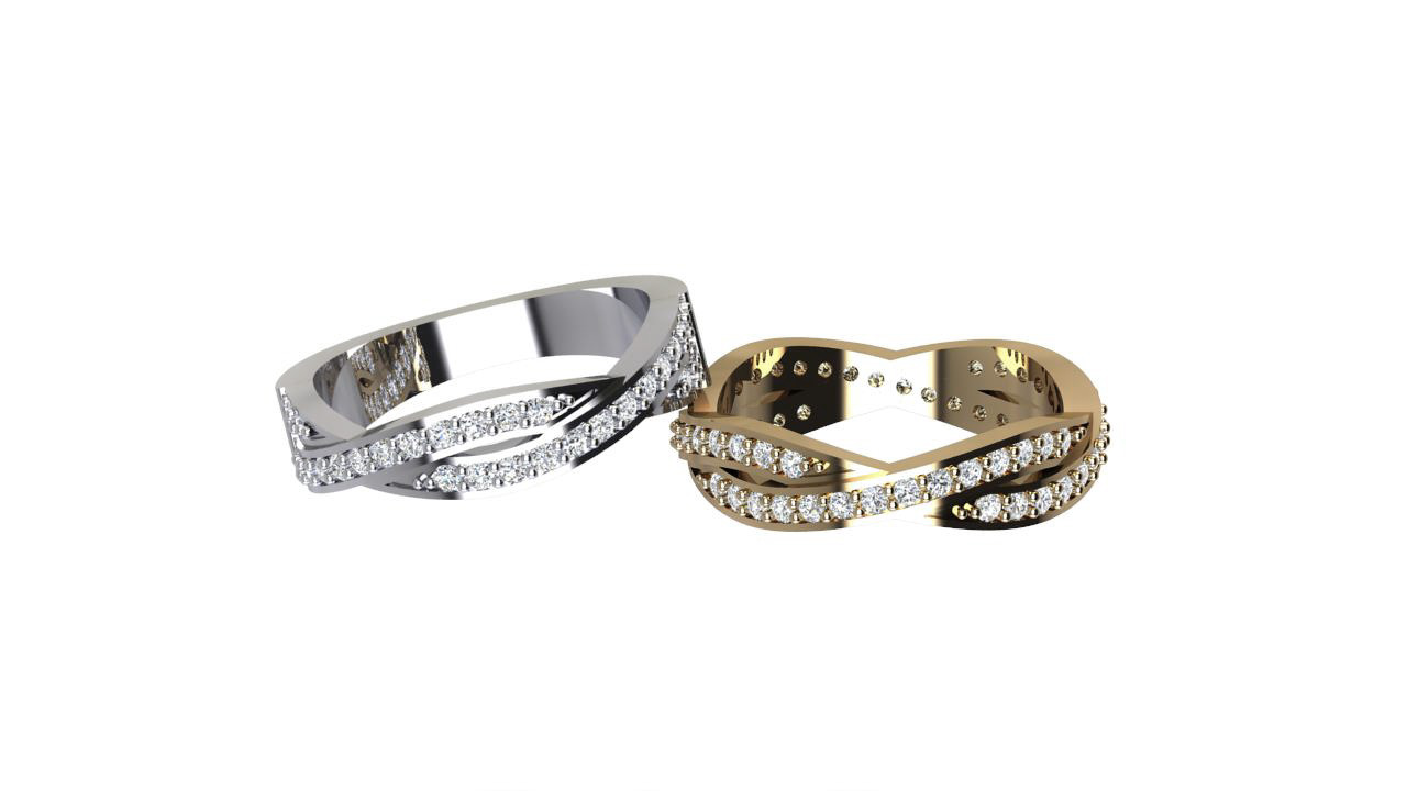 By Oscar Eternal crossover round diamond eternity rings in 18 carat yellow & white gold