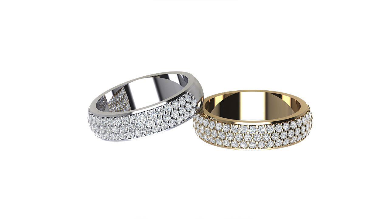 By Oscar Low dome triple row round diamond designer eternity rings in 18 carat white gold & yellow gold