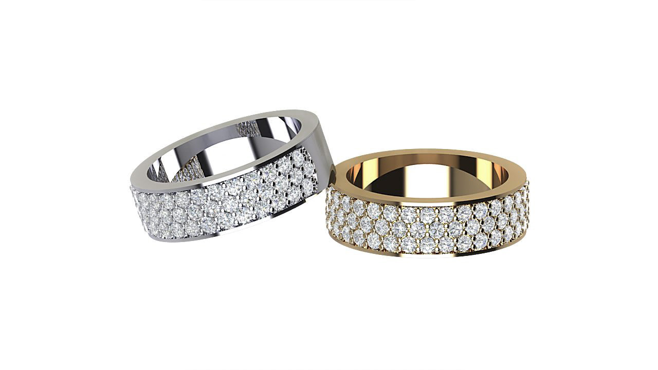 By Oscar Triple row round  diamond eternity rings in platinum & 18 carat yellow gold