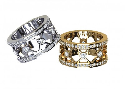 DWSR007 Art Deco Style Diamond Wedding Ring