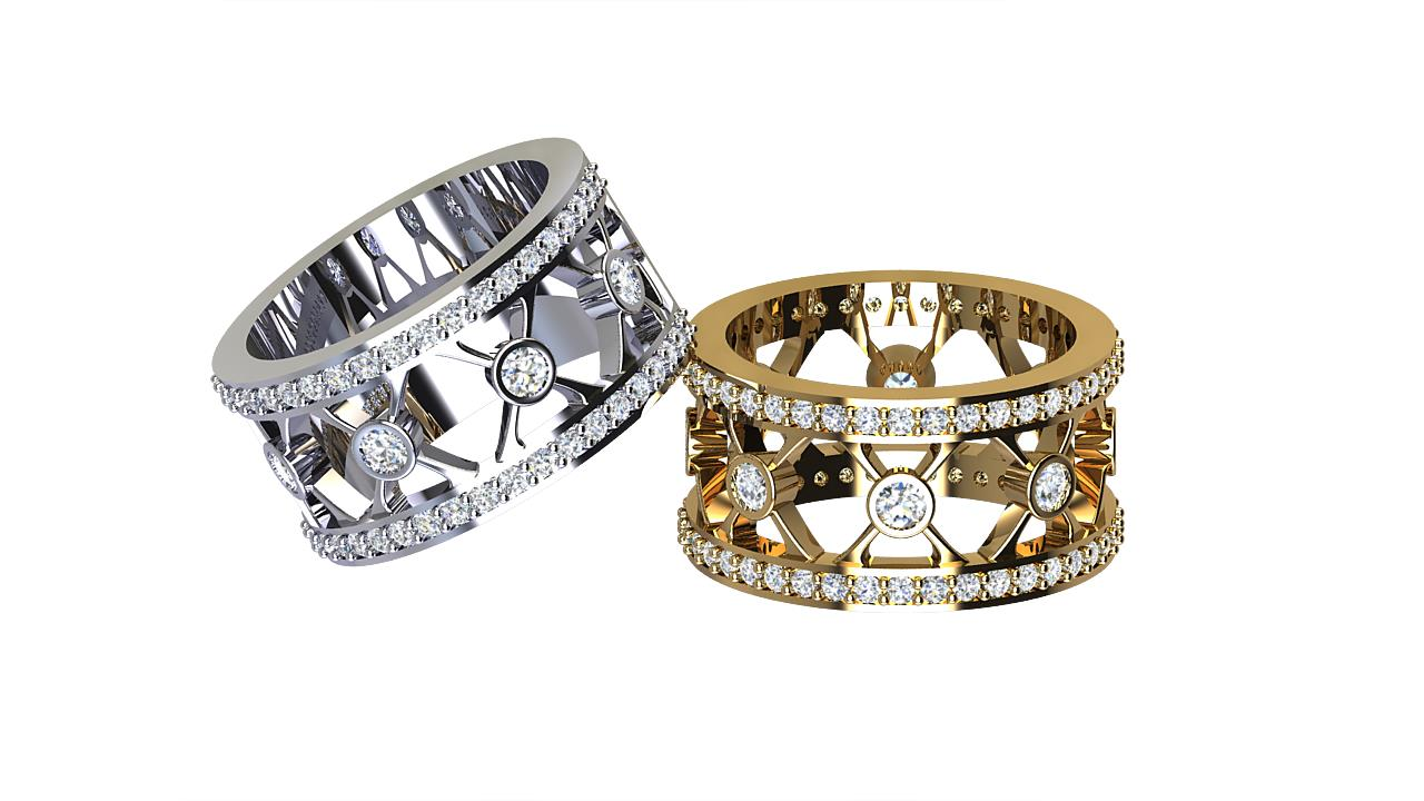 By Oscar bezel set designer round diamond wedding bands in platinum & 18 carat yellow gold